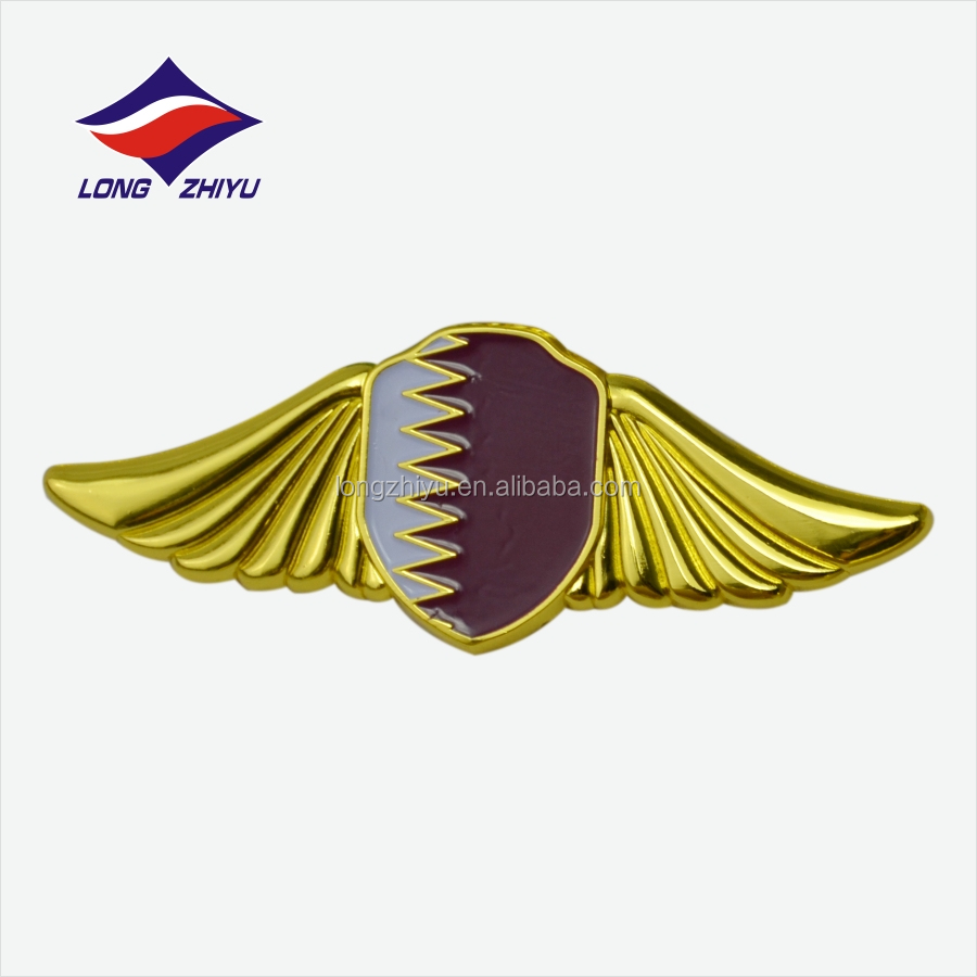 Pilot Metal Wing Badges Emblem,Military Wing Lapel Pin Made Eagle Shape Pins