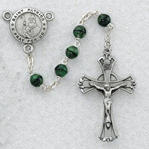 "Green and Black St. Patrick Irish Catholic Rosary Beads - This Irish Rosary Has 7mm Green and Black Glass Beads with a New England Pewter Crucifix and a New England Pewter St. Patrick Centerpiece with the Words ""St. Patrick Pray for Us"" on the Centerpiece. This Beautiful Rosary Comes Packaged in an"