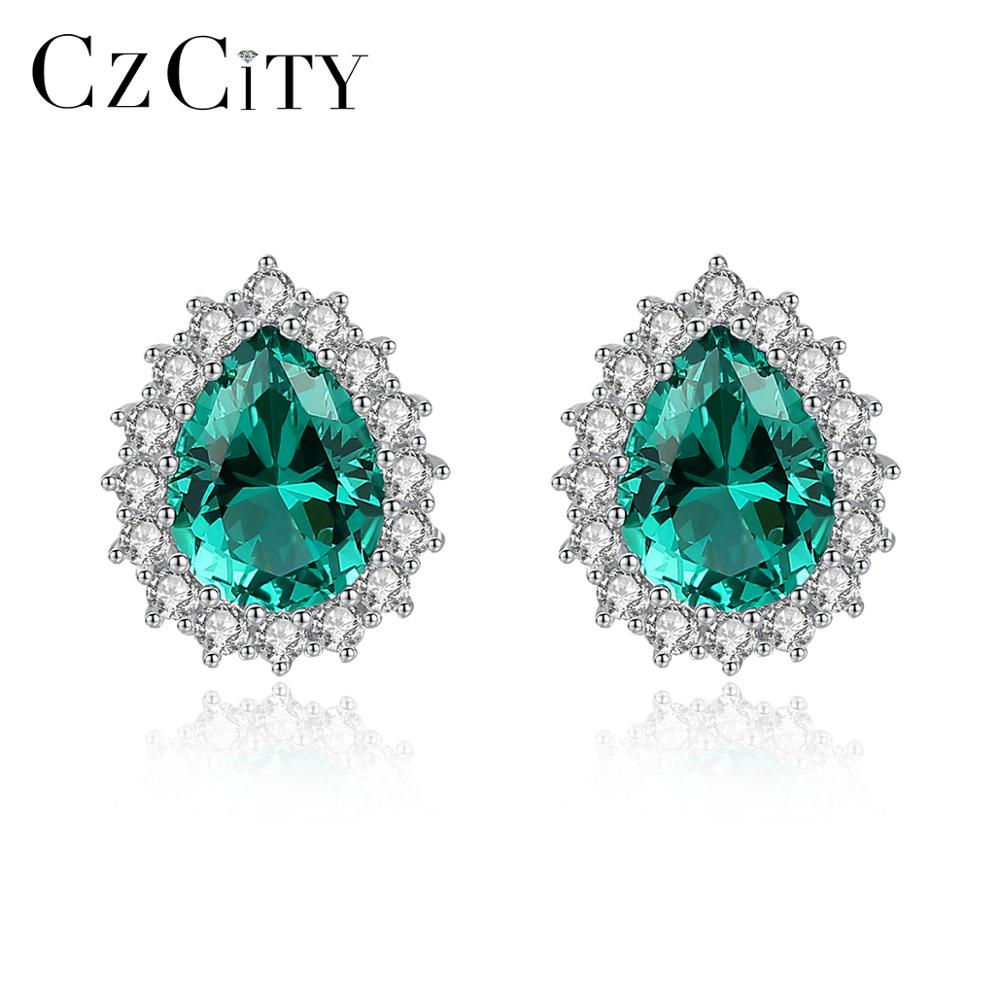 CZCITY New Gemstone <strong>Earring</strong> Luxury 925 <strong>Sterling</strong> <strong>Silver</strong> Stud <strong>Earrings</strong> Women's High Jewelry Water <strong>Drop</strong> Gift for GIrl Wholesale