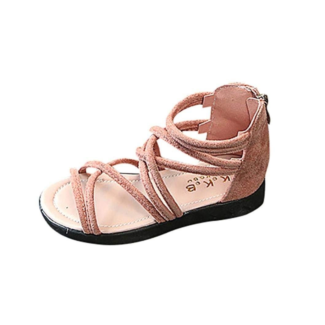 NEARTIME Kid Sandals, 2018 Summer Children Infant Baby Girls Solid Color Leather Boot Beach Zipper Casual Shoes (Age:3.5-4T, Pink)