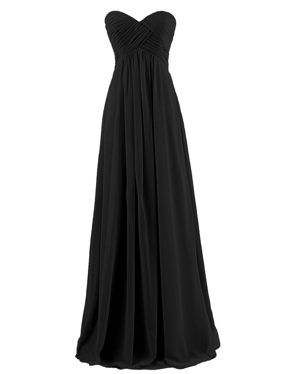 2015 Cheap Chiffon Long Black Dress Elegant Prom Dresses Sweetheart Women Fashion Party Gown