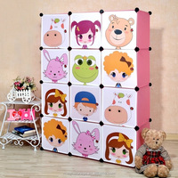 12 cubes DIY kids colorful plastic wardrobe