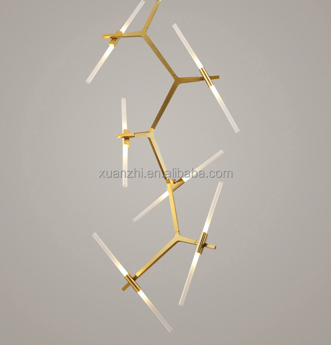 0808-15 20 light for the restaurant bedroom living room glass pendant lamp golden chandelier