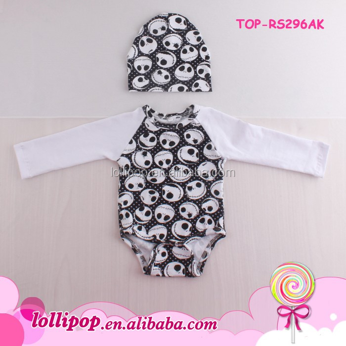 Halloween Baby 2 pcs Clothing Blank Cotton Raglan Onesie Long Sleeve Toddler Skull Design Bodysuit Baby Raglan Romper