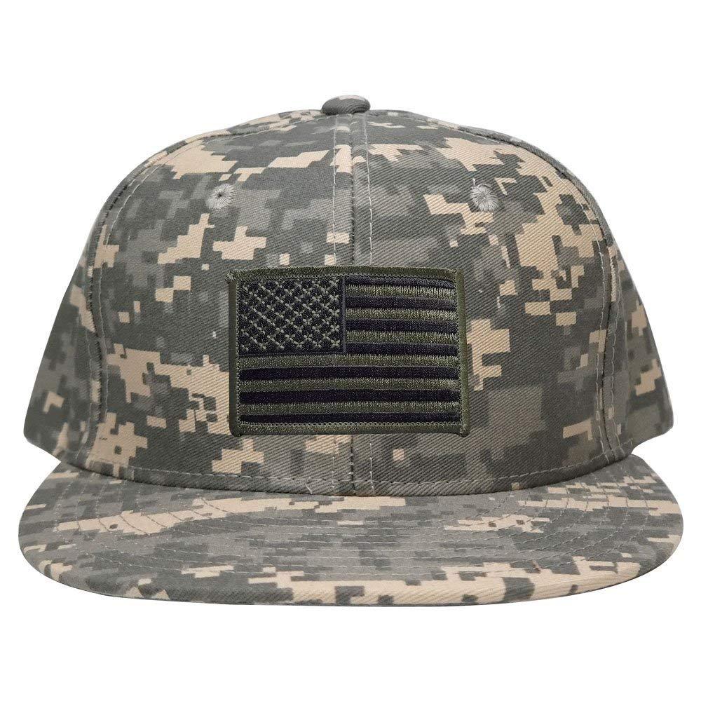 c3ca275a8cb Get Quotations · Flat Bill Digital Camo American Flag Patch Snapback Cap -  ACU