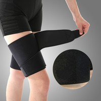 Thigh brace adjustable compression sleeve support sports injury recovery