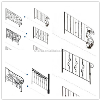 Decorative metal spiral iron stair ornament perforated wrought iron indoor stair railings