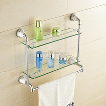 Bathroom accessory set hotel style wall-mounted chrome plated brass dual tier glass shelf