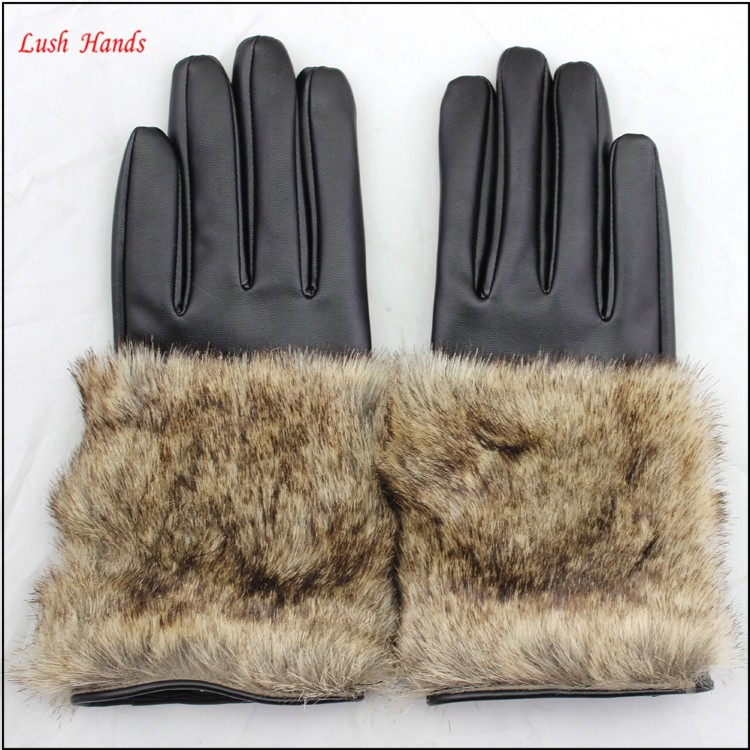 Cheap leather glove women PU gloves with faux fur cuff