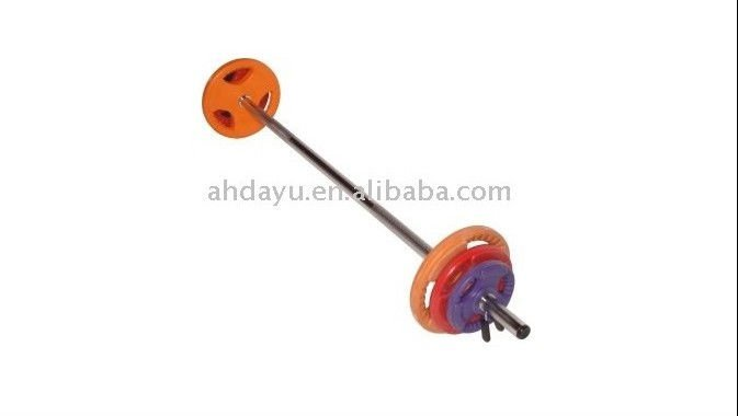 Color rubber barbell set/adjustable barbell/round rubber barbell weight plate