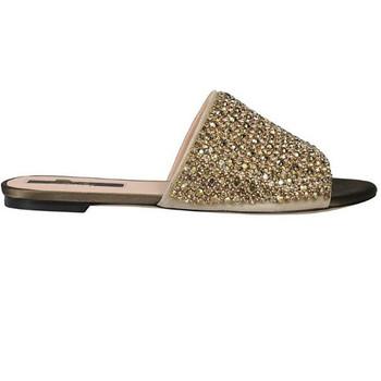 4d8a8a78fa9d Summer Wholesale custom brand diamonds satin flat heel mules slippers women