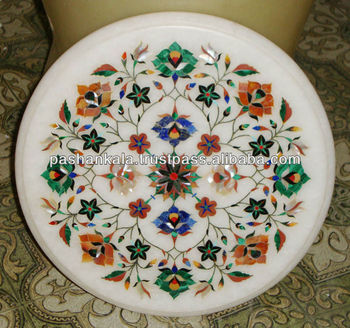 Indian Makrana Marble Inlay Coffee Table Tops Antique Top Tables For White Product On