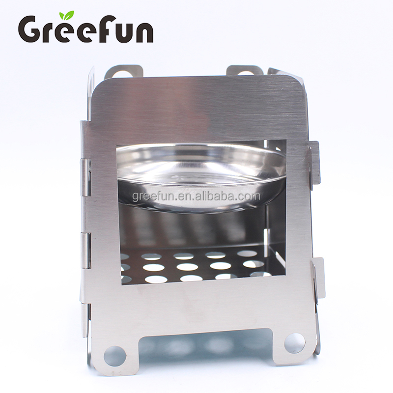 Folding Camping Stove Portable Stainless Steel Wood Stove with Storage Bag for Outdoor Cooking Hiking Picnic Pocket Stove