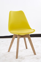 Home furniture modern plastic solid Oak&beech wooden dining chair plastic chair