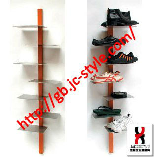 Wall Mounted Shoes Display Rack And Holder Retailed Metallic Sneaker