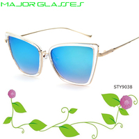 Major glasses 2017 ice blue mirror cat 3 uv400 womens sunglasses oversized frame wholesale in china dropshipping