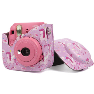 Fashion Colorful PU Leather instant camera case bag For fujifilm instax mini 9 instant camera And Shoulder Strap