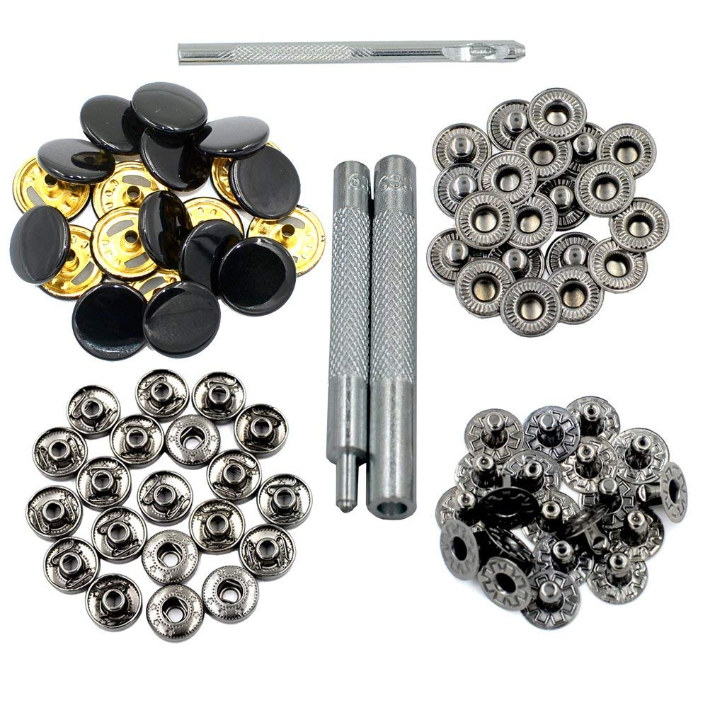 DGOL 20 Sets Colorful Press Fasteners Studs Copper Clothes Rivets 633 Snap Buttons With Install Tools Color (Black)
