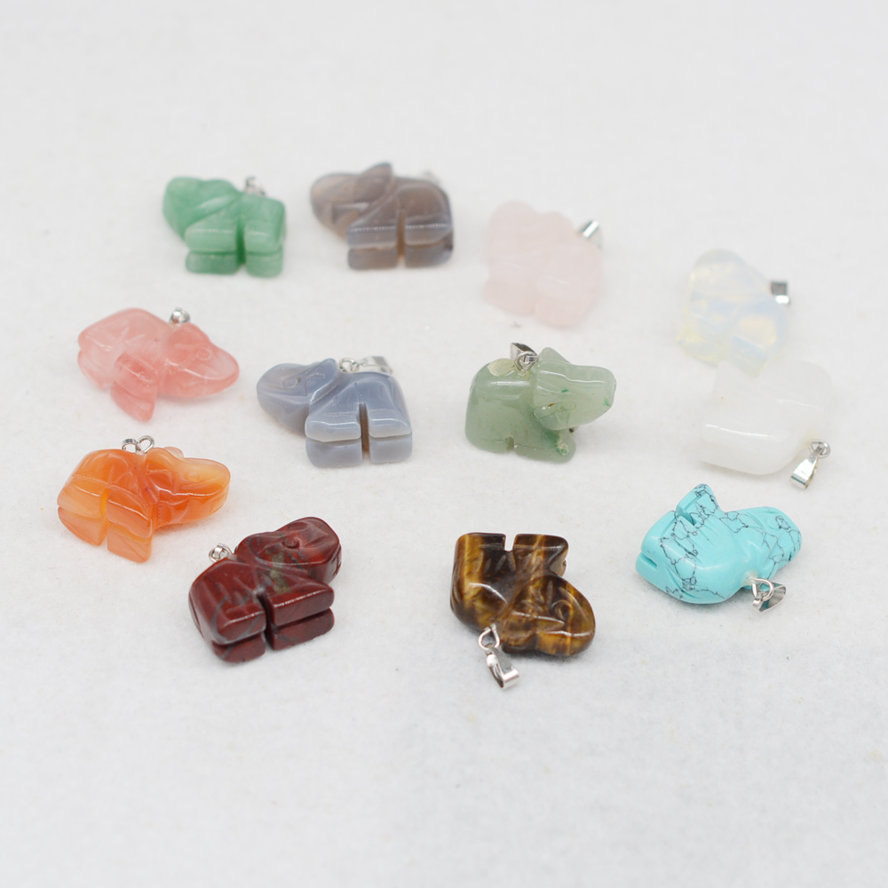 22*16mm Mixed natural stone animal charms tiger eye rose quartz carved elephant <strong>pendant</strong> for making necklace jewelry
