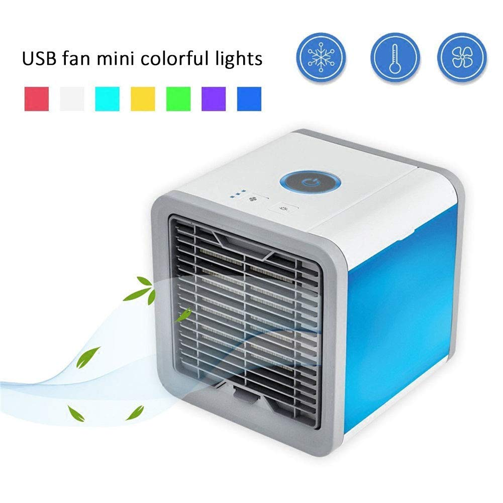 Mobile Personal Air Cooler, Mini Air Conditioner Fan 3 in 1 Cooler Humidifier Purifier | Adjustable 3 Wind Speeds | 7 LED Lights USB Charging Cooler for Office, Living Room, Bedroom