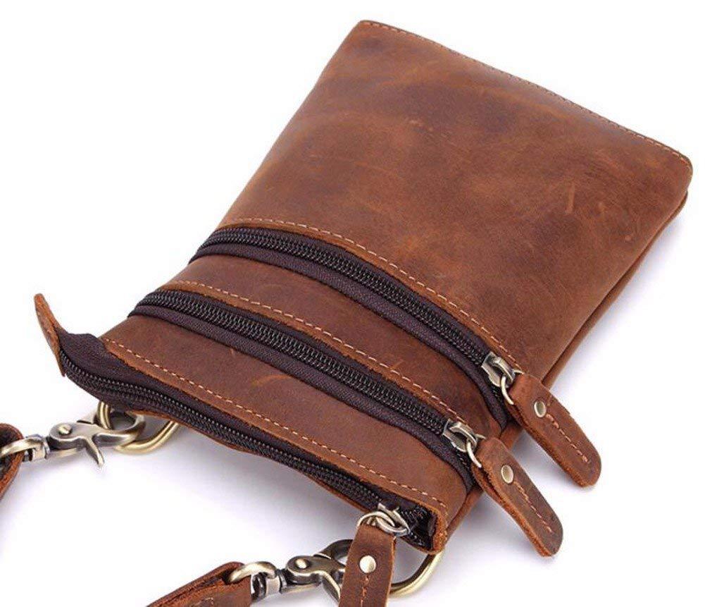 Surnoy Small Single Shoulder Bag, 7 inch Retro Handmade Men's Leather Satchel, Vertical Multi-Functional Belt, Small Waist Bag.