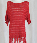 Red knitted tassel shawl hollow out evening dress