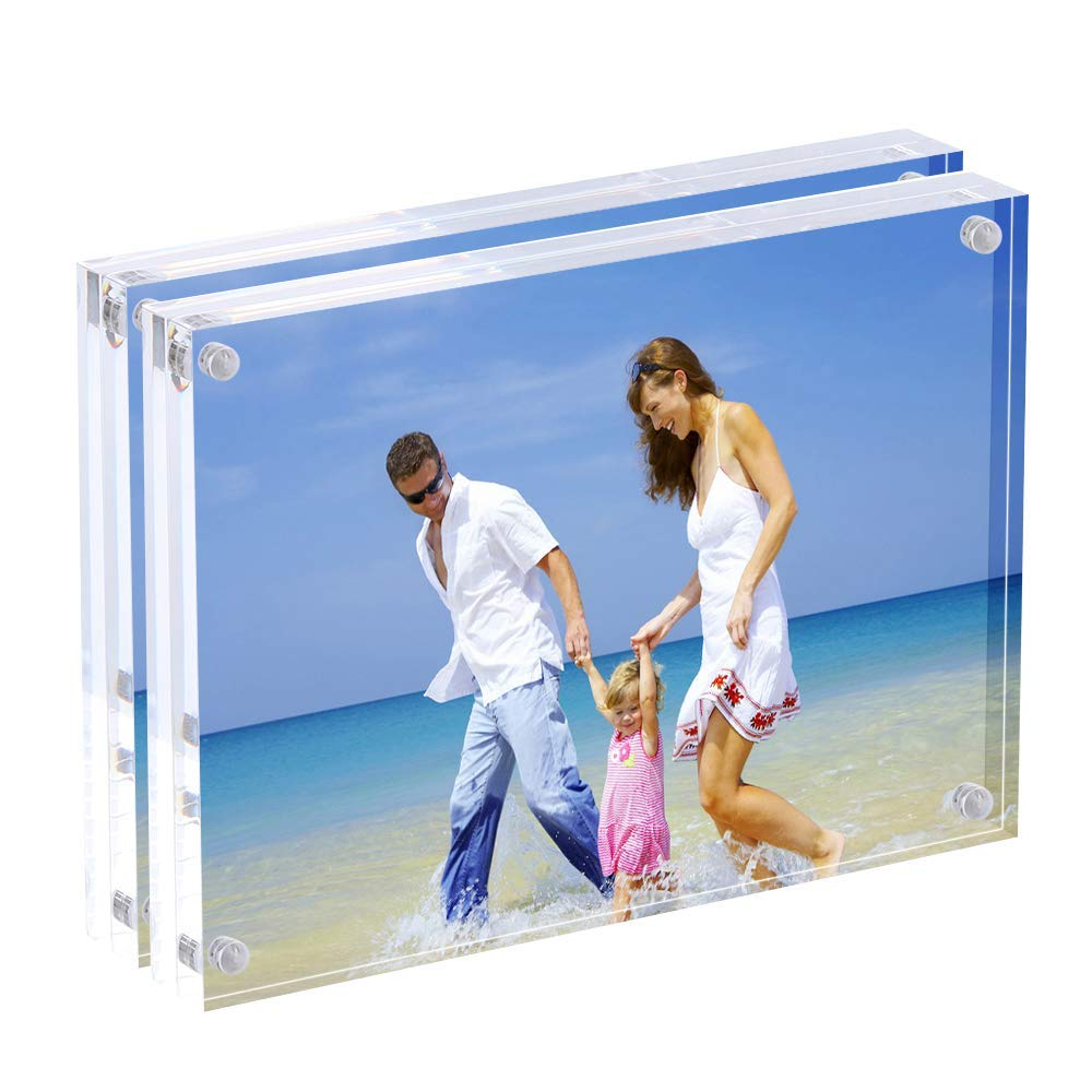 AMEITECH 5x7 Acrylic Photo Frame, Magnetic Picture Frames, 10 + 10MM Thickness Stand in Desk Table, Clear (2 Pack)