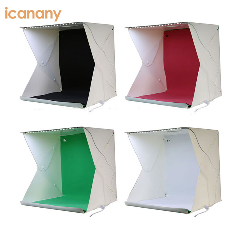 Portable Photography Studio Mini Folding Photo Light Box Studio Photo Photography Studio with LED Light and Four Backgrouds