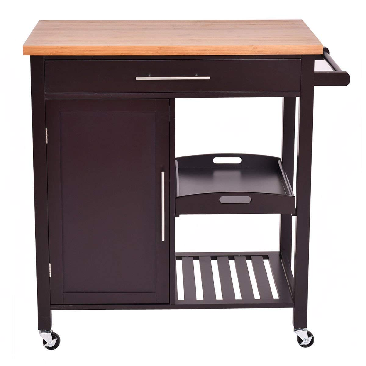Get Quotations · Rolling Wood Kitchen Island Trolley Cart Bamboo Top  Storage Cabinet Utility