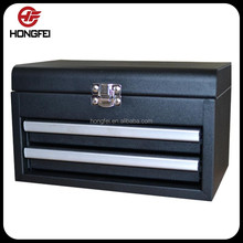 Mini Black 2 Drawer Metal Tool Box of Storage Trunk