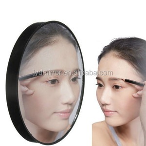Portable 10X/15X/20X magnifying mirror with suction cups for eyebrow tweezer and eyelash brush