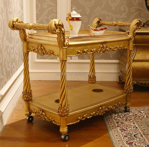 Fancy French Home Dining Room Wooden Food Service Trolley/ Luxury Golden Dining Cart Made of Hand Carved Solid Wood
