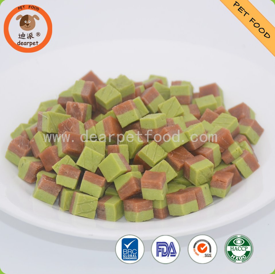 fruit and vegatable colored Meat Cube pet food
