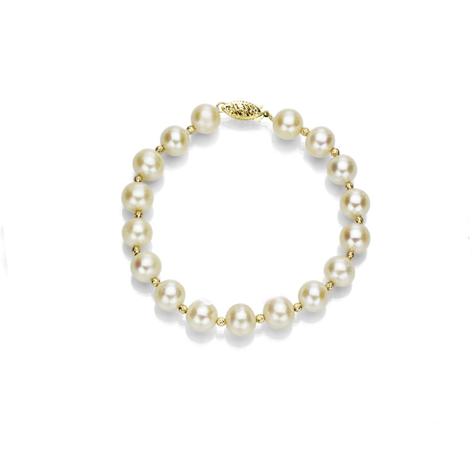 La Regis Jewelry 14k Yellow Gold White Freshwater Cultured Pearl Bracelet with 3mm Sparkling Gold Beads