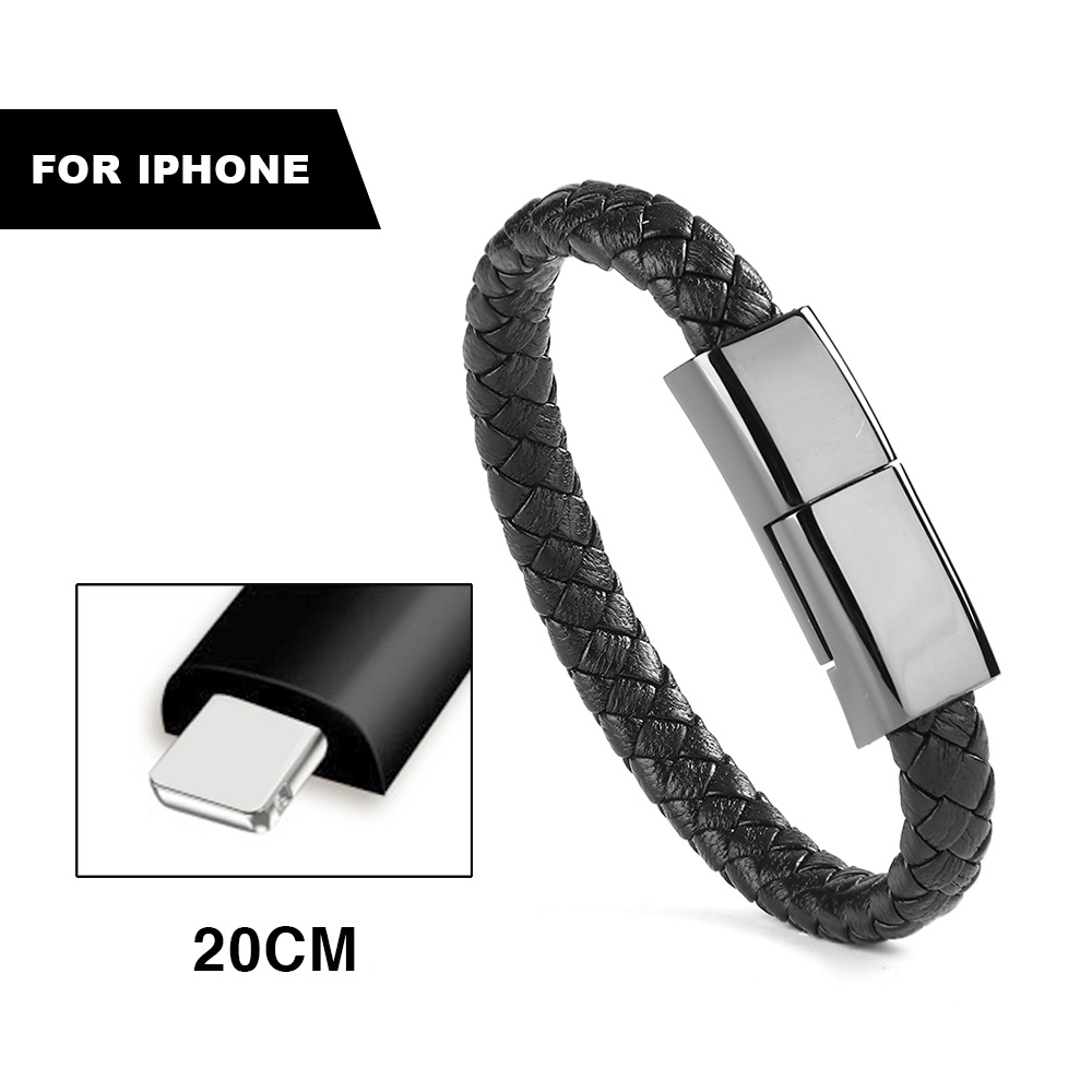 Reizen Snelle USB Telefoon Opladers Armband Charger Data Oplaadkabel Sync Cord Voor iPhone 7 6 s Armband Mannen Staal magnetische Sluiting