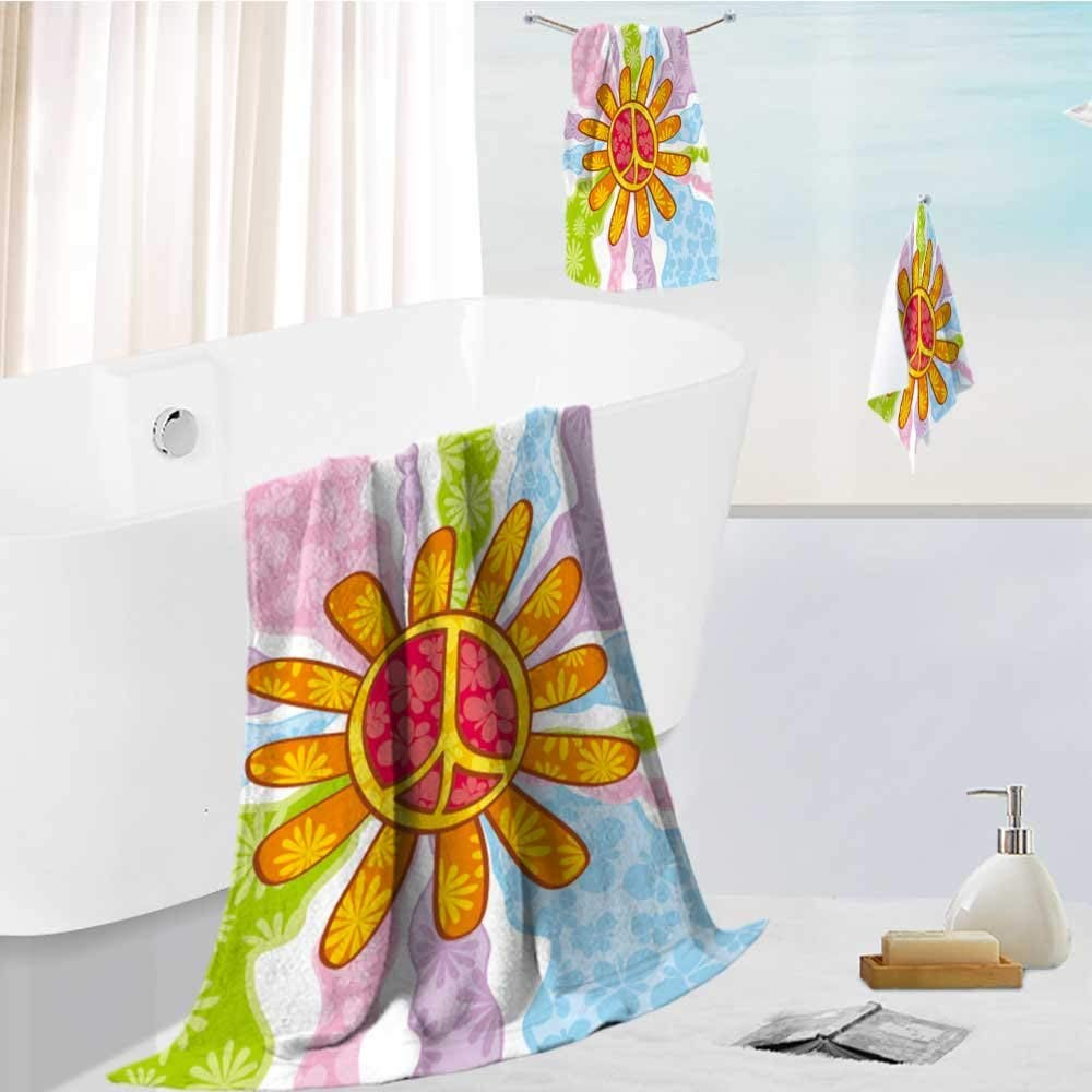 Analisahome Family Big Bath Towel set hippie peace symbol Printing Print Bath Towel Super Absorbent Body Wrap Pool Towel