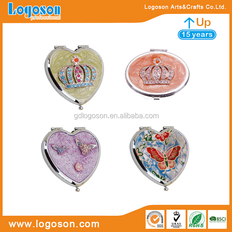 Factory Price Tourist Souvenirs Stainless Steel Compact Mirrors Heart / Round Shape Butterfly / Crown Wholesale Mirrors