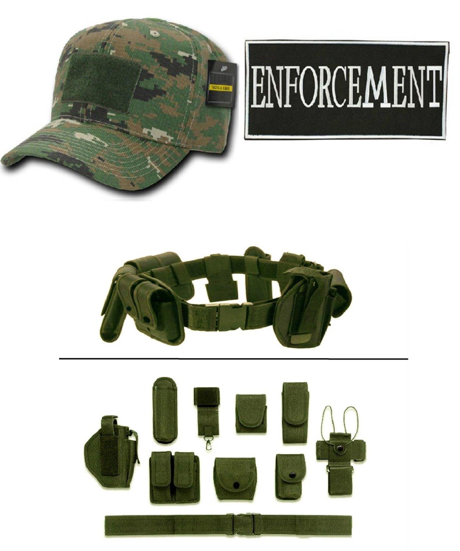 Woodland Digital Cap + ENFORCEMENT ID + Green Duty Belt Holster