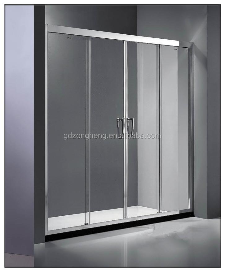 1 fix 2 sliding tempered glass shower sliding doors for bathrooms
