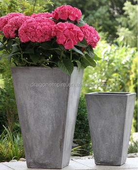 Square Tapered Fiber Cement Flower Pots, Fiber Cement Garden Flower Vase