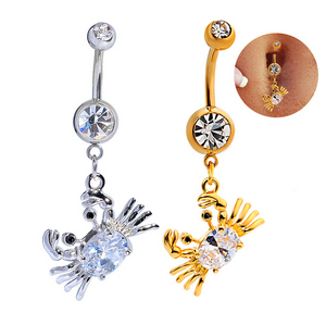 Body Piercing Navel Rings Crab Imitate Rhineston Zircon Clear Dangle Belly Button Rings