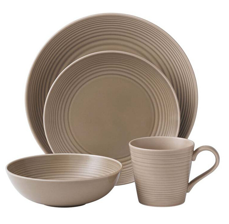 Cheap wholesale 16 pcs glazed gray ceramic dinner set