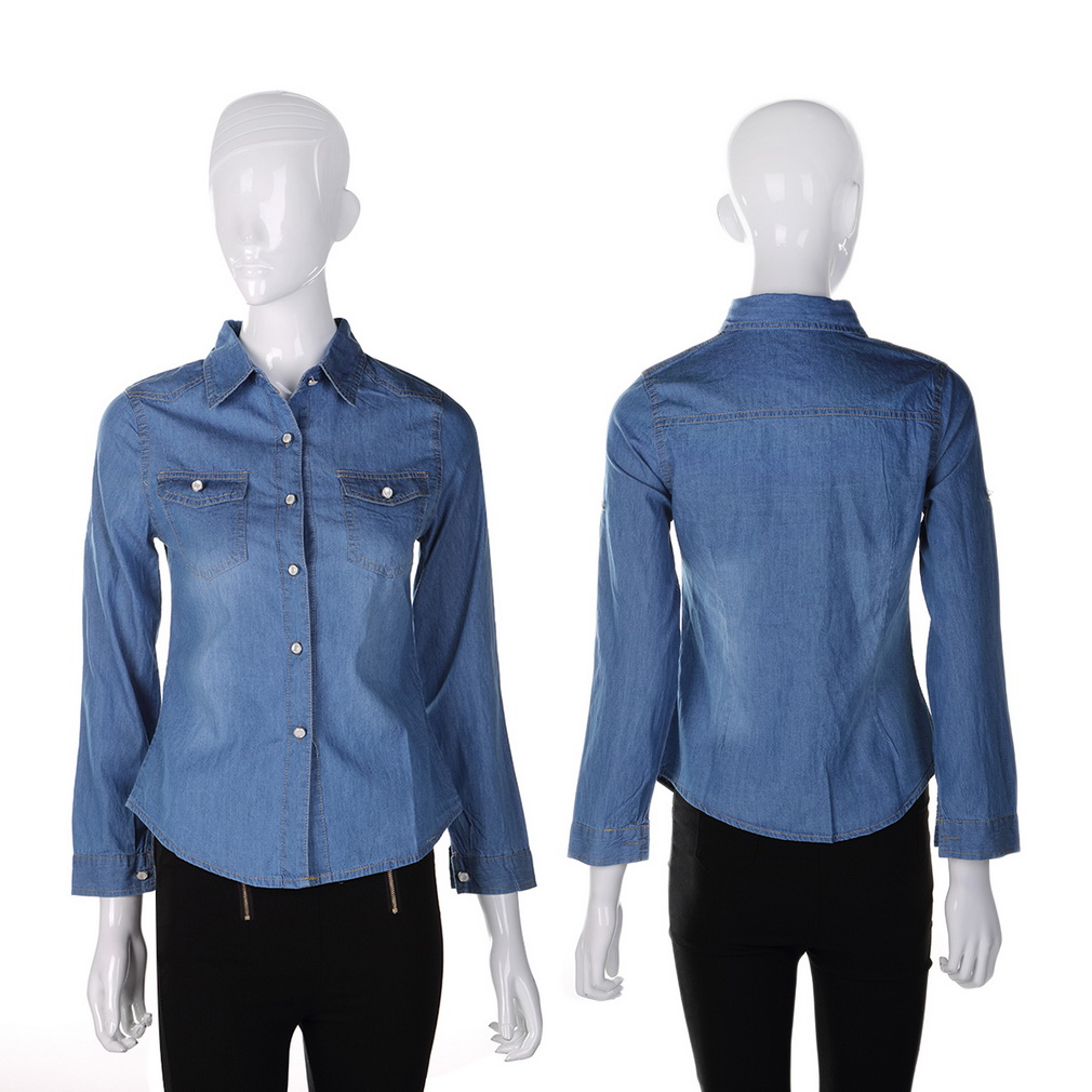 09182705f7e3 Get Quotations · Hot Western Womens Chambray Shirt Washed-denim Shirts Long  Sleeve Classic Collar Snap Button Pocket