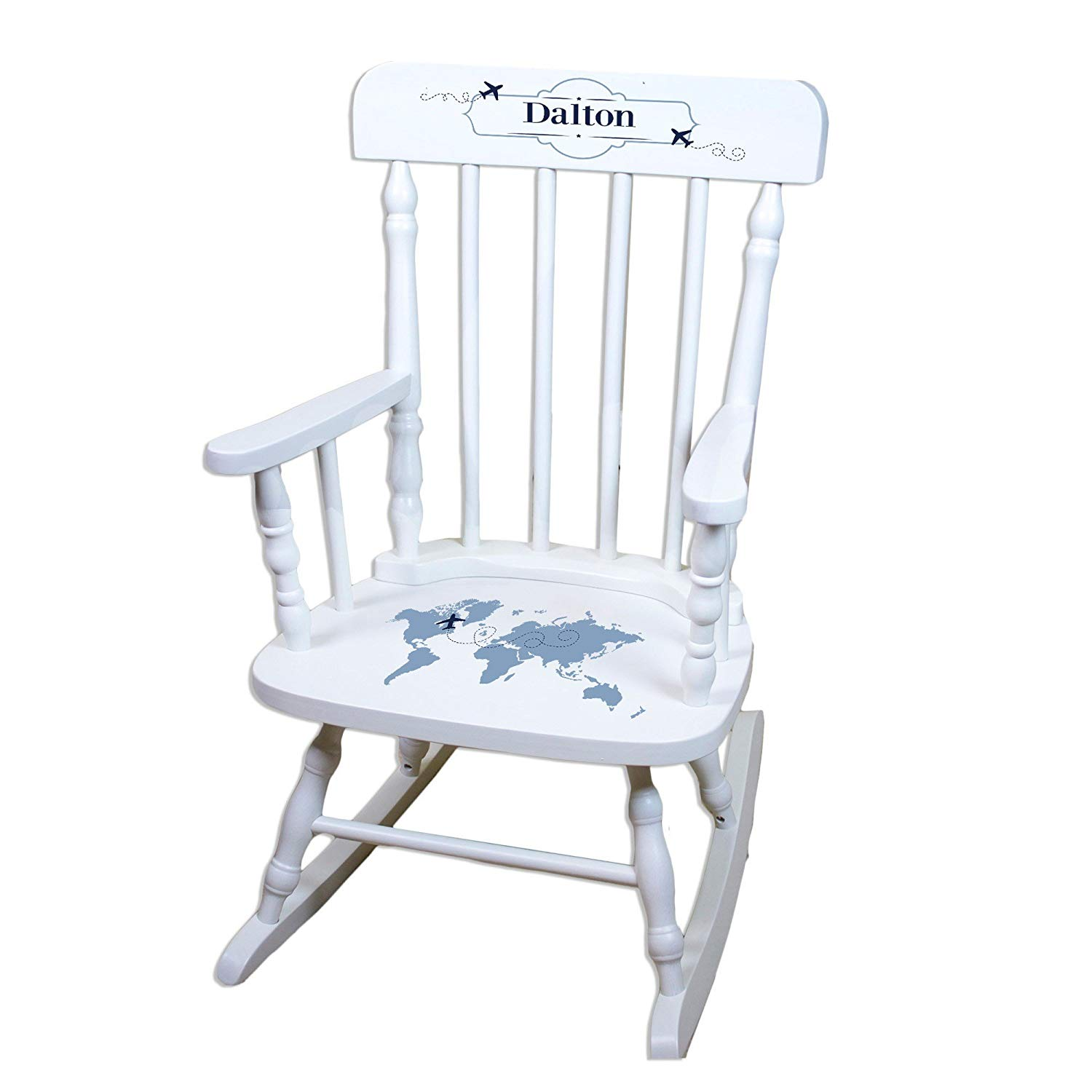MyBambino Personalized World Map Blue White Wooden Childrens Rocking Chair