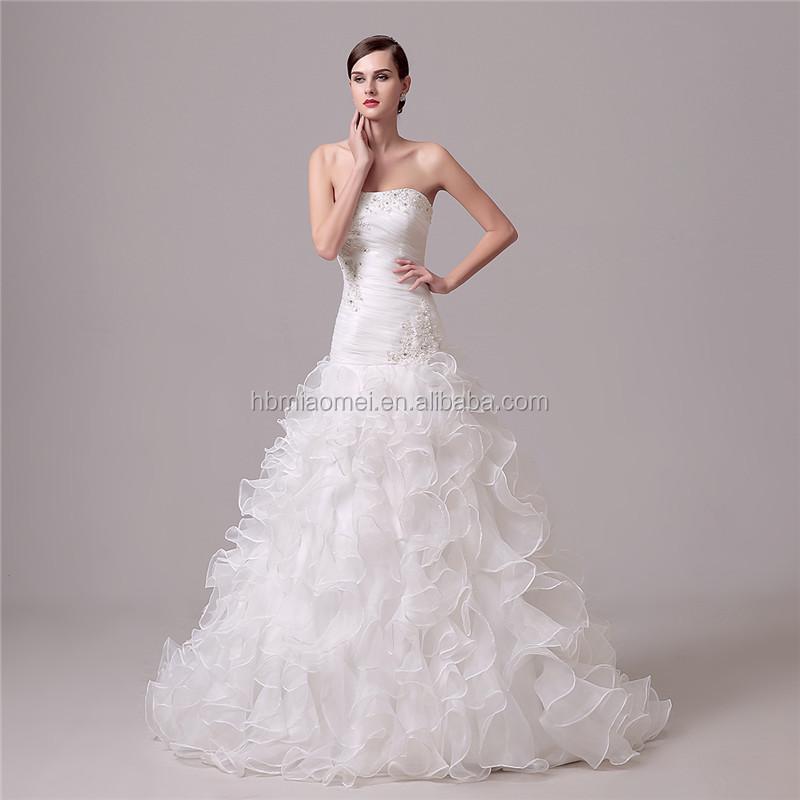 f1208c55085 white color laced deep v neck princess wedding dress bridal gown mermaid