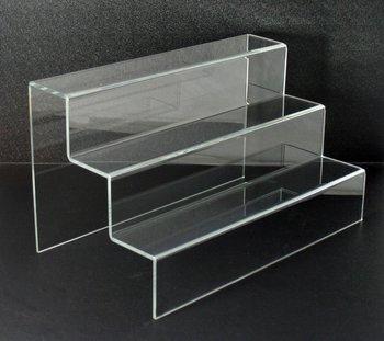 Acrylic 3 Step Freestanding Display Rack Shelf Riser