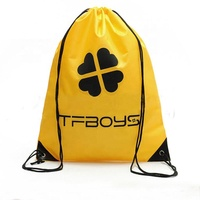 customized logo 190D polyester promotion backpack drawstring bag gym sport polyester bags