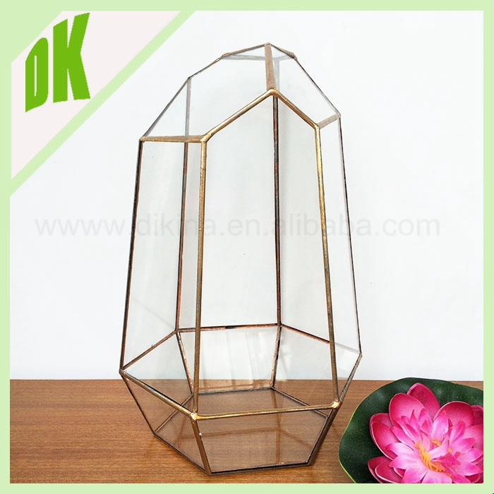 Gemetric glass votive candle holders, glass candle holder for wedding rose gold tall crystal candle holder