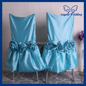 Charmant CH030A Hot Sale Fancy Wedding Ruffled Taffeta Turquoise Blue Chair Covers  With Flower