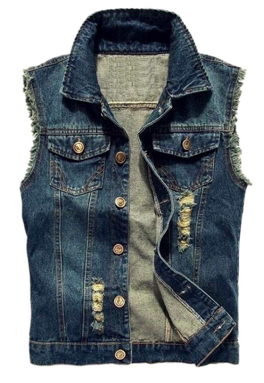 187dc80a71803 Get Quotations · ainr Men Slim Denim Motorcycle Jean Jacket Denim Vest  Sleeveless Jacket